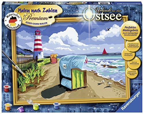 Ravensburger 28904 28904-Urlaub an der Ostsee-Malen nach Zahlen Premium, Format 40 x 30 cm, Multicolor