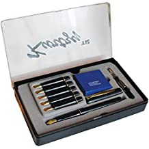 14 Piece Calligraphy Writing Fountain Pen Set with 6 Nibs and Cartridges by Kurtzy - Stationary Ink Kit for Caligraphy Lettering - Complete Easy Learning Set for Beginners - Storage Case Included