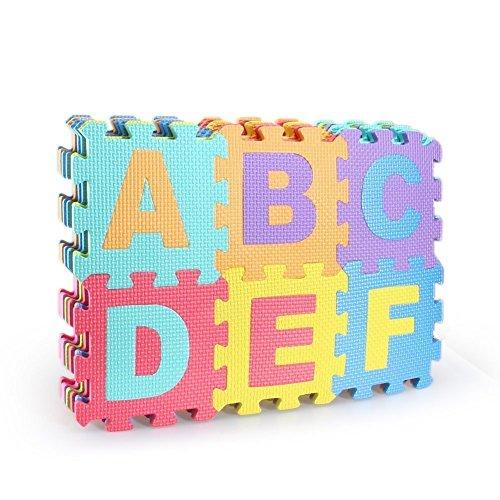 Hochwertige BPA-Freie Puzzlematte mit 26 Spielmatten mit Buchstaben von A-Z, robuster Kinder-Spielteppich, kälteisolierende Spielmatte, Schaumstoffmatte mit Schall-Dämmung, Spielpolster, gegen kalte Böden und Fußbodenkälte. Als Krabbelmatte zum Toben, pädagogische Spieldecke.