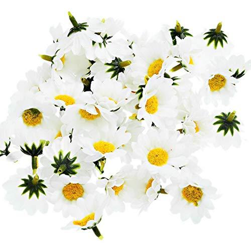 100 Stück Künstliche Gänseblümchen Blüten Blüten Kunstpflanze Falso Gänseblümchen mit gelber Kern für Scrapbooking Handwerk Dekoration Wedding Baby Shower (Weiße Und Gelbe Baby-stirnband)
