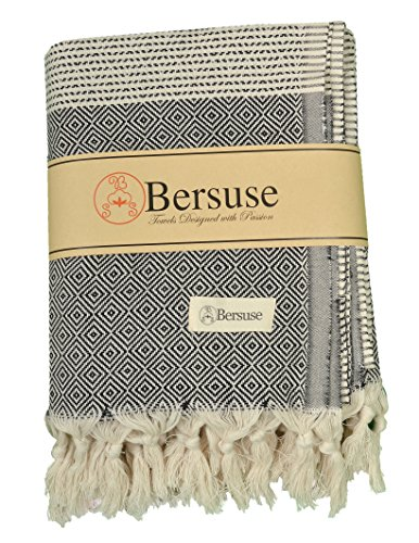 Bersuse 100% Baumwolle - Hierapolis XL Türkisches Handtuch - Mehrzweck Bett- oder Sofa-Überwurf, Tischdecke oder als Picknickdecke - Badestrand Fouta Peshtemal - Auf Handwebstuhl mit Diamantwebart Pestemal - 152X242 cm, Schwarz