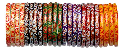 A.B.S. by Allen Schwartz Glass bangles for women traditional & Wedding Decorated by colour full painting (2.6)