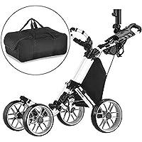 CaddyTek klick-klappbar, 4 Rad Version 3 Golf Push cart-Dark grau mit Aufbewahrungstasche