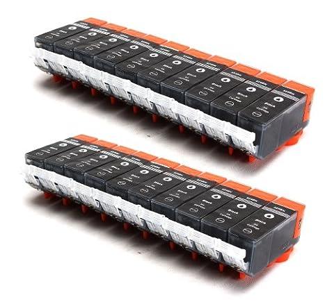 20er Set kompatible Druckerpatronen für CANON PGI-525 mit CHIP und Füllstandsanzeige | 20x PGI-525BK / Schwarz | ersetzt Patronen für Canon Pixma IP4850 IP4950 IX6550 MG5150 MG5250 MG5350 MG6150 MG6250 MG8150 MX885 MX715 MX895