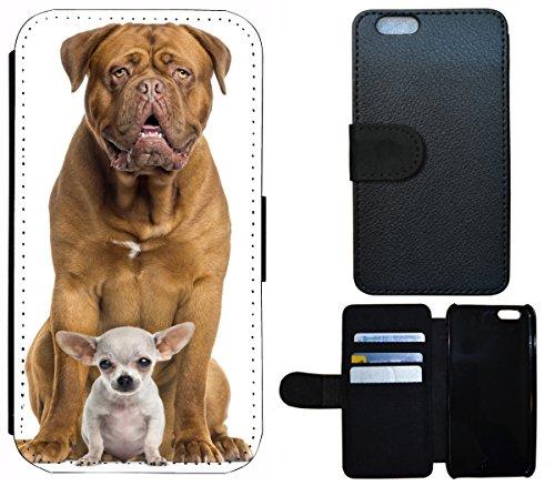 Flip Cover Schutz Hülle Handy Tasche Etui Case für (Apple iPhone 5 / 5s, 1391 Fussball Fußball Schwarz Weiß Blau) 1392 Bordeauxdogge und Baby Chihuahua Hund