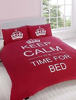 Just Contempo - Juego de funda nórdica y funda de almohada (algodón y poliéster) diseño con texto Keep calm It's time for bed