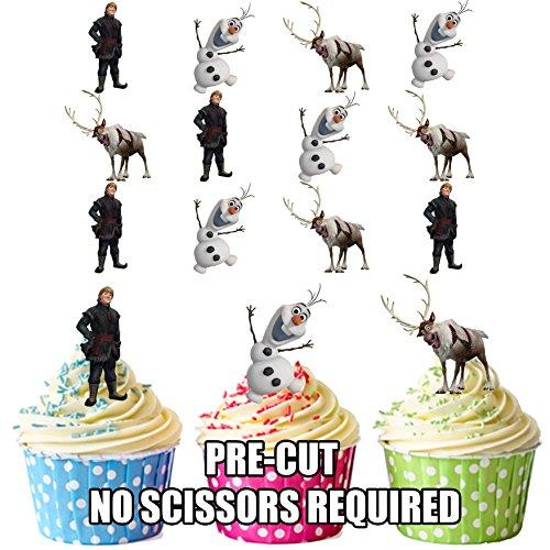 AK Giftshop essbare Kuchendekorationen, Design: Disneys Frozen - Kristoff, Sven & Olaf, vorgeschnittene essbare Dekorationen mit Motiv, für Cupcakes, Kuchen und Torten, 12 Stück