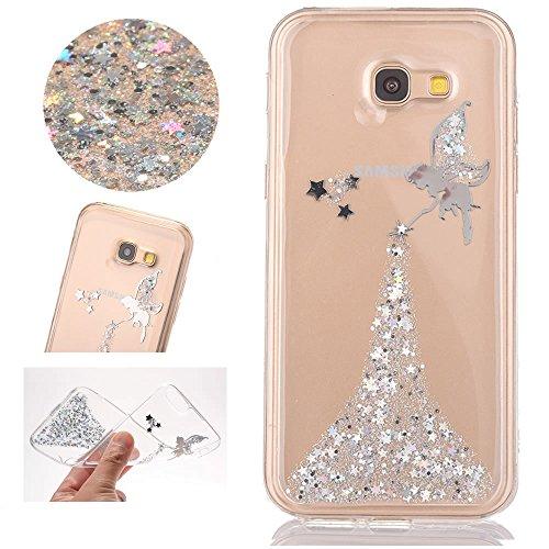 Sycode Galaxy A5 2017 Custodia,Creative Trasparente Glitter Argento Fairy Fata Morbida Custodia Cover per Samsung Galaxy A5 2017