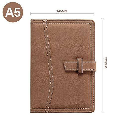 Jia HU A5Leder liniert Notebook mit Metall Schnalle Lesezeichen für Schule Business Reisen Büro camel - Camel Schnalle