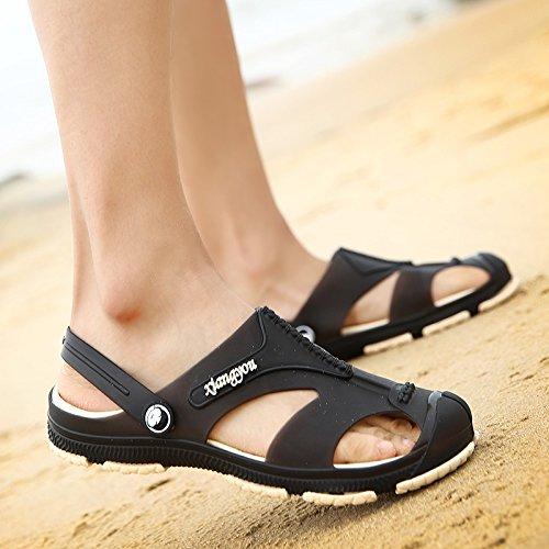 Sandales, chaussures de plage d'été, trou, chaussons anti-dérapants pour hommes tongs, sandales, men's remorquer A721 black
