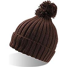 Vitamin Marrón Auriculares Larga con Solapa Long Beanie POM-PON sombrero gorro bearnie