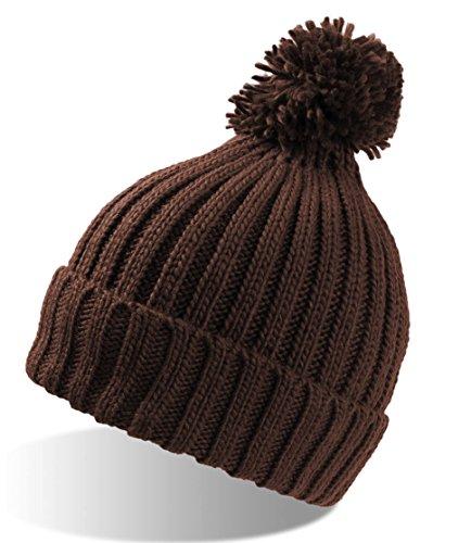 Vitamine Marron revers Mesdames une chaleur maximale Pompon bonnet Long Chapeau bearnie