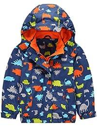 YoungSoul Impermeables para niño - Chaquetas softshell con capucha de manga larga - Chubasqueros estampada otoño invierno