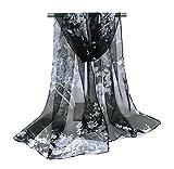 Wdoit Femme 's foulards Mode élégant Floral Écharpe longue Serviette Air–Conditioning Châle Vêtements Accessoires 160cm * 50cm, Tissu, noir, 160x50cm