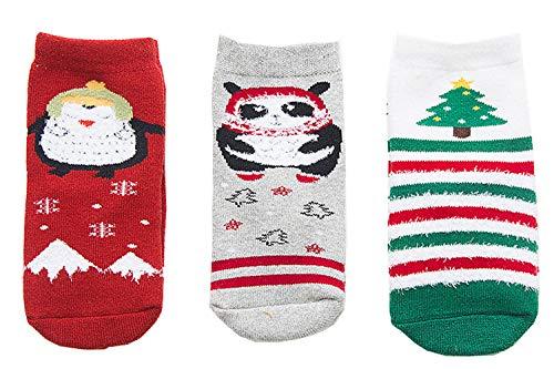 Aikowener 3er Pack Unisex Baby Kinder Winter Baumwolle Warm Socken Bunt Gemustert Christmas Socks (1-12 Jahre) (S (1-3 Jahre), Weihnachtsbaum) (6 1 2 Weihnachtsbaum)