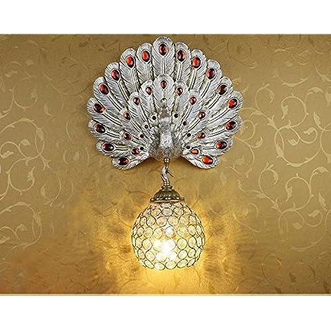 Il sud-est asiatico Pavone creativo luce da parete Studio continentale la testa delle scale Soggiorno TV Parete di cristallo lampade a
