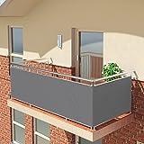 BALCONIO PREMIUM Balkonbespannung - 500 x 85 cm - GRAU - wasserabweisend