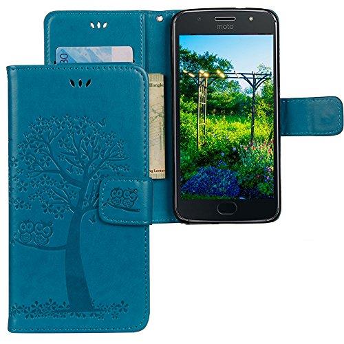 CLM-Tech kompatibel mit Motorola Moto G5S Hülle, Tasche aus Kunstleder, Leder-Tasche Lederhülle, Baum Eule blau