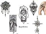 5láminas Top Trend líneas Tatuajes Tattoo Grap hische Tattoo Juego X2Reloj de arena Brújula búho Muelle