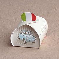 """Ballotins à dragées - boites à dragées forme mimosa petit modèle thème Italie """"Dolce Vita"""" voiture italienne x10 mariage baptême communion anniversaire"""