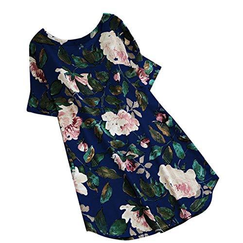 Asalinao Plus Size Damen Vintage Blumendruck Lange Ärmel Oansatz Bluse Shirts Tops