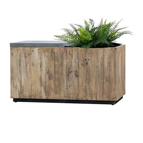 Pflanzgefäß Aus FSC-zeritfiziertem Holz und mit Metallkanten verstärkt