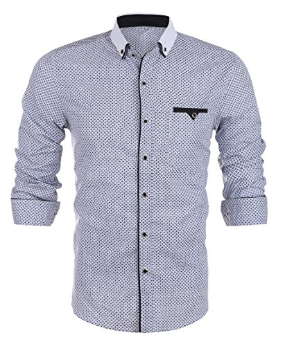 Hasuit Men's Regular Fit Long Sleeve Printed Dot Stretch Smart Casual Dress Shirt