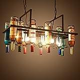 MMM- Industrieller Art-Leuchter, Eisen-Lampen-Körper Eisen-Lampenschirm E27 Flaschen-Kronleuchter (78 * 38cm, hängende Ketten-Höhen-justierbar 50cm)