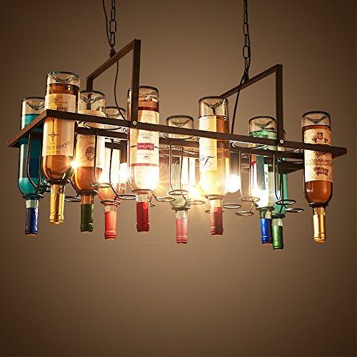 MMM- Industrieller Art-Leuchter, Eisen-Lampen-Körper Eisen-Lampenschirm E27 Flaschen-Kronleuchter...