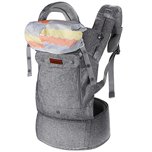 Lictin Baby Carrier Sling for Newborn - Baby Wrap Carriers Front and Back, Breathable Adjustable Swaddle Wrap Ergonomic Breastfeeding Baby Sling Carrier for Infants up to 33 lbs/15kg, Handsfree(Dark Grey)