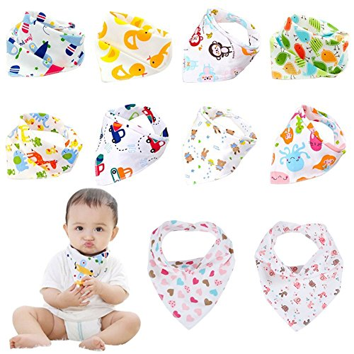 Labebe Baby Bandana Bibs Drool/Burpy Bibs Unisex 10-Pack Multicolor, 100% Cotton, Newborn Baby Shower Gift for Teething and Drooling, Soft & Absorbent, Machine Washable and Stain Proof 51Fnq1crmfL