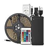 EPBOWPT 10M 32.8ft 60Leds/M Led Strip RGB 5050 SMD 600 LED Streifen Licht Lichtband IP65 Wasserdicht mit 24 Tasten Controller Fernbedienung + DC 24V Netzteil EU Plug
