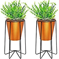 SIMRAN HANDICRAFTS Ascent Homes Metal Pot Stand with Bucket Planter, Gold, standard, 2 Pieces