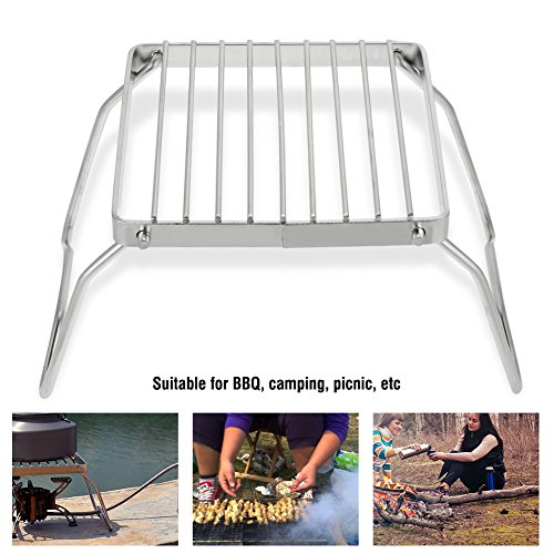 Alomejor Picknick Grill, Outdoor Tragbare Mini Edelstahl Brennerhalterung Grill Trompete Holzkohle Rack für BBQ Picknick (Tragbares Outdoor-grill)