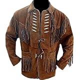 classyak Herren Cowboy Leder Jacke mit Knochen und Fransen Gr. XXXX-Large, Braun, Wildleder