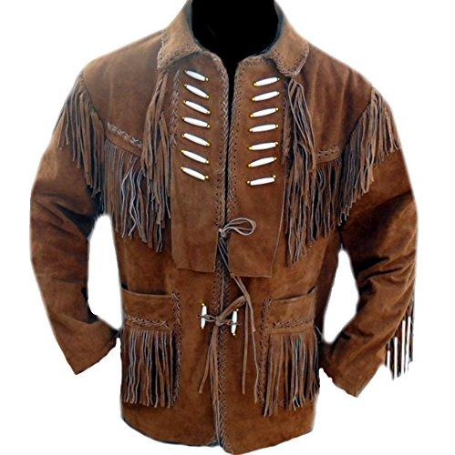 classyak Herren Cowboy Leder Jacke mit Knochen und Fransen Gr. XXX-Large, Braun, Wildleder (Fransen Leder Jacke)