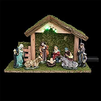 3 en 1 Conjunto de Navidad: 1 belén luminoso + sus 8 figuras + 1 iluminación LED