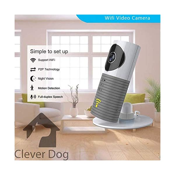 Clever Dog Smart Camera WiFi Monitor, Colour Grey Clever Dog ✔ BABY MONITOR - With a WiFi Camera and two-way audio, the Clever Dog is an easy-to-install smart monitoring device that will enable you to view and monitor your nursery or child's room. It will help you to stay connected no matter where you are - via WiFi networks and you will be able to view footage and alerts in real-time video, with audio on both smartphones and tablets; ✔ CCTV SECURITY CAMERA - With Motion Detection and Video Recording you can get real-time video notifications of locations where this smart camera is installed, such as at home, office, shop or warehouse etc, to enable you to know exactly what's happening. Also the smart camera will immediately take a photo when the motion sensor is activated by movement and will send you the notification via Email or the installed app for Android or iOS; ✔ EASY TO SETUP - Simply connect your Clever Dog smart camera to your phone or tablet and insert a microSD card (up to 32GB-not included) . You will be able to view live footage anywhere you are and stay connected with the CCTV camera. The gyroscope inside allows the user to install the WiFi monitor upside-down as it will automatically auto-sense the mounted angle; 1