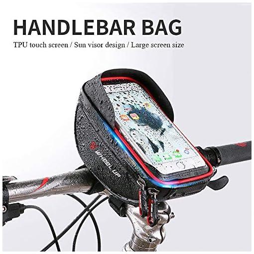 """IREGRO Bicicletta Borsa Ciclismo bici Top tubo manubrio Bag Phone Holder con visiera, adatto per il telefono mobile con dimensione inferiore a 6"""", impermeabile anteriore telaio borse"""