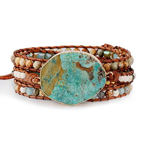 HUSHOUZHUO Frauen Lederarmband Einzigartige Gemischte Natursteine   Vergoldeten Stein Charme 5 Stränge Wickelarmbänder Handgemachte Boho Armband