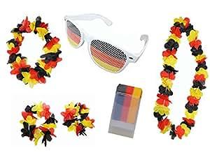 Idena FußballFan Set Deutschland: Schminkstift, Hawaii Set, Party Sonnenbrille, 1er Pack (1 x 6 Stück)
