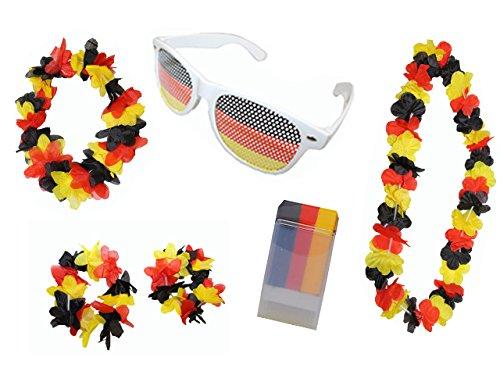 Fußball-Fan Set Deutschland: Schminkstift, Hawaii Set, Party Sonnenbrille, 1er Pack (1 x 6 (Deutschland Kostüm Un)