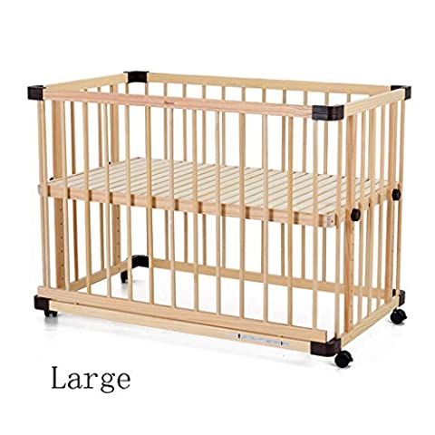 TYJ Cots Crib Multifunction Children's Bed Solid Wood Environmental Protection Simple Fashion Tasteless No Paint Safety Baby Bed With Roller Cradle ( Size : L )
