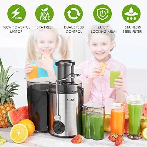 Aicok Centrifugeuse Fruits et Legumes, Extracteur de Jus à Trois Vitesses, 65MM Large Centrifugeuse Bouche en Acier Inoxydable, à Pieds Antidérapants, Sans BPA