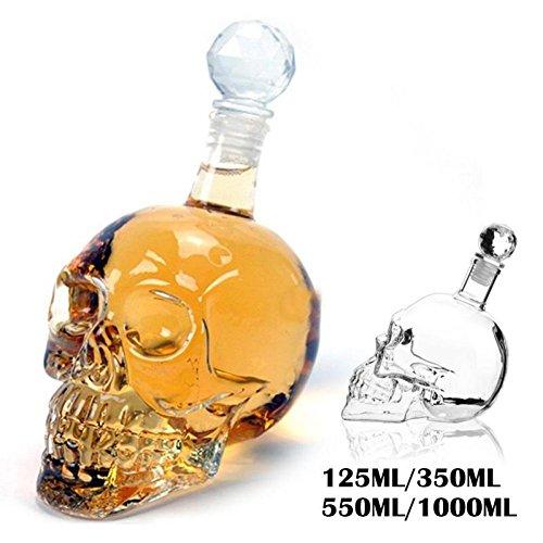 GREEN HOME 1 Skull Weindekanter Crystal Skull Head Glas Shot Party Transparente Champagner Cocktails Bier Kaffee Weinflasche Glas Whiskey Glas Weingläser Bar Lieferungen (Weiß, 550ML)