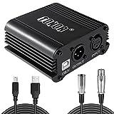 Tonor 48 V Phantomspeisung mit USB Kabel Phantom Phantomleistungversorgung mit 1×Adapter und 1×Audio Kabel für Kondensor Mikrofone Musik Rekorder, Schwarz