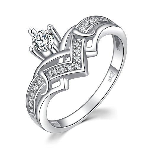 Jewelrypalace Herz-Prinzessin Crown 0.4ct Zirkonia Jubiläum Versprechen Verlobungsring 925 Sterling Silber size 51 (16.2) (As Shown) (Silber Sterling Versprechen Ringe 925)