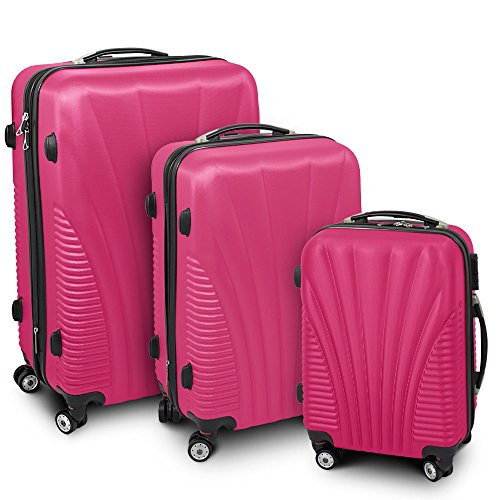 Kofferset 3-teilig Reisekoffer Trolley Hartschalenkoffer ABS Teleskopgriff Modell 'Funnel' (Pink)