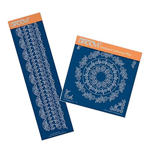 Floreale da tina doodles a5square & groovi pergamena border piastra set