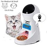 Sailnovo Distributore Cibo Automatico per Gatti e Cani, Alimentatore per Animali Domestici con LCD Display e Timer, Registra Voce, 4L, Bianco